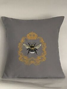 "Queen Bee Embroidered Cushion Cover 14""x14"""