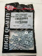 """462-08000 - J&N, Nut, Hex, 8-32, 0.13"""" / 3.2mm Thick - Pack of 100 (B1)"""