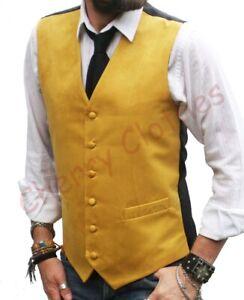 Mens Faux Suede Yellow Gold Waistcoat Vest Gilet -   S  M L Xl Xxl 3xl 4xl