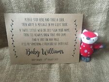 Personalised baby shower guest book, wishes sign, unisex A4 Brown Kraft card