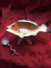 FLAWLESS Exquisite FITZ FLOYD Porcelain FISH TROUT Dip Sauce BOWL DISH & SPOON