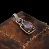 Antique Vintage Deco 925 Sterling Silver Rose de France Amethyst Pendant 3.3g