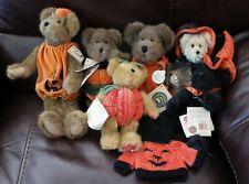 Lot of 6 Boyd's Bears Halloween Bears/Pumpkins/Black Witch/Cracker Barrel/TAGS