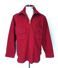 Vtg 50s Rockabilly Heavyweight Red Wool Pullover 1/2 Zip Lumberjack Jacket XL