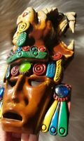 VGC Painted Mayan Aztec Hand Carved Wooden Totem Head Mask Wall Hanging Decor