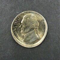 1999-P Jefferson Nickle 5c Mint Error Off Center Strike Toned  RG561