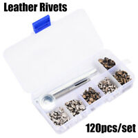 120 Stk. Metall Lederwerkzeug Nieten Hohlnieten Doppel-Hohlnieten Ziernieten NEU