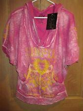 Sunful AFFLICTION S Sweatshirt Pullover Rhinestone Wings SHIRT TOP HOODY Pink