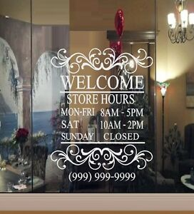 Custom Store Hours  - Wall Decal or Window Decal