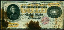 $10,000 1900 Gold Certificate Fr. 1225h, ink smears. No multiple punch cancels