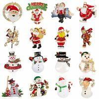 Rhinestone Crystal Christmas Snowman Santa Claus Brooch Pin Xmas Party Jewellery