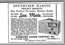 1946 Vintage Ad Sea Mate Marine Radios Soundview Co City Island,NY
