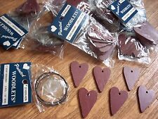 "Lot Of 72 Burgandy Wood Hearts 2"" Plus Wire 12 Pkgs Of 6 Ea Painted Woodlets"