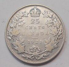 1921 Twenty-Five Cents VG ** Nice SCARCE Date KEY King George V Canada Quarter