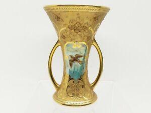Noritake of Japan 1918 Hand Painted Porcelain Vase Waisted Corset Blue Swallow