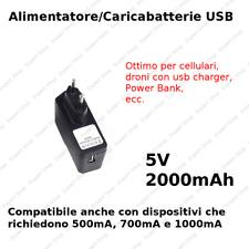 Alimentatore 5V DC 2A (2000mA ) - presa USB Spina EU Alimentazione basso consumo