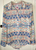 Women's Wrap Blouse Sz M (7-9) White Floral Aztec Boho Sheer Tunic No Boundaries