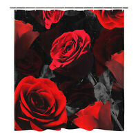 Rose Print Shower Curtain Waterproof Polyester Fabric Bathroom Curtain With Hook