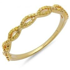 10K Yellow Gold Diamond Ladies Anniversary Wedding Band Stackable Ring 1/5 CT