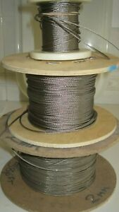 2 mm 1 x19  stainless steel 316 marine grade wire rope - cut to length required