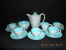 1950's Poole Pottery TwinTone Turquoise & Seagull 14 Piece Demitasse Coffee Set