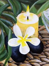 ACEO Original Acrylic Painting. Zen / Jasmine Flower, Rocks, Plants & Candle.