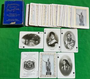 Old 1901 Antique * HAWAIIAN Photo Souvenir * Wide Playing Cards S28 KINGS QUEENS