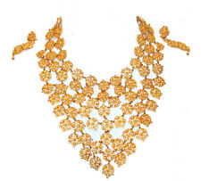 SAKS FIFTH AVENUE Gold Large Necklace  Clip On Earrings Jewelry Set Flowers