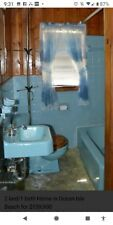 1950 Vintage Blue Bath Tub Sink Comode Toilet