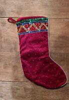 "Christmas Stocking w/ Sequin Cuff 19"" Red Velvet"