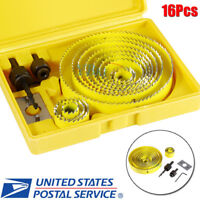 "16pcs Hole Saw Drill Bit Kit Wood Sheet Metal 3/4"" - 5"" 19-127mm Cutting Set USA"