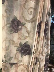 Croscill Chambord Cassis Sheer Curtain Panel Purple Amethyst Rose  58 X 84
