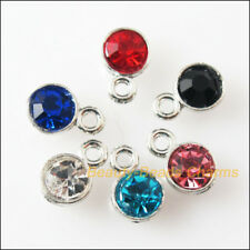 12 New Charms Glass Crystal Mixed Round Tibetan Silver Pendants 5x8mm