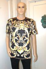 Black & Yellow European Designer Retro Style Baroque Print T-Shirt Men Size XL