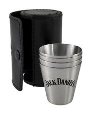 Jack Daniel's Shot Glass Travel Set in Leather Case Stainless Steel Shot Glasses