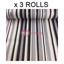 Stripe Wallpaper Silver Grey Black White Metallic Shiny Textured Lined x 3