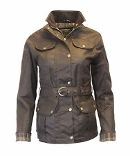 Ladies Womens Belted Wax 4 Pocket Countrywear Waxed Coat Jacket 8-18