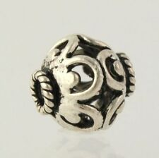 Round Bead Charm - 925 Sterling Silver Swirl Design Jewelry Making Crafting