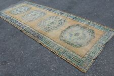 "Vintage Handmade Turkish Oushak Blue Yellow Runner Rug 11'11""x4'6"""