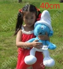 40cm BIG Tall The Smurfs Clumsy Smurf Soft Stuffed Plush Doll Toy Blue and White