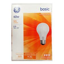 NEW GE 13255 40 Watt A19 General Purpose Light Bulbs White 4 Bulbs Per Pack