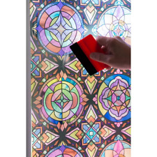 "26""x59"" Decorative Stained Glass Window Treatment Film Unique Privacy Flower"