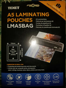 """Laminating Pouches 150 Microns (2x75) Thickness A4, A5 or 6""""x4"""" (1-10 pouches)"""