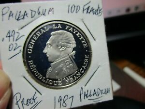 PALLADIUM !!!   .492 OF AN OUNCE PALLADIUM PROOF FRENCH COIN  1987  100 FRANCS
