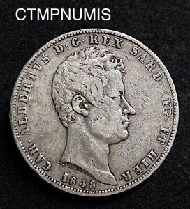 ITALIE SARDAIGNE  5 LIRE  ARGENT  CHARLES ALBERT   1848  TURIN   COUPS   RARE