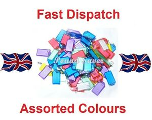 BIG PLASTIC ASSORTED KEY RINGS KEY TAGS COLOURED PLASTIC ID TAGS NAME LABEL FOB