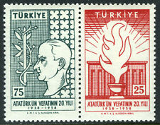 Turkey 1430-1431a pair, Mi 1615-1616, MNH. Kemal Ataturk, 20th death anniv. 1958