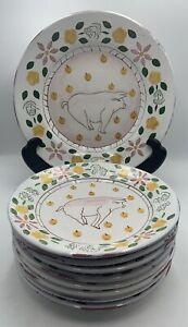 Bentson-West Designs MM 8 Hand Painted PIG Plates Lg Serving Bowl Portugal Rare