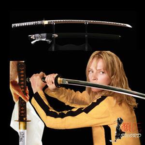 Japanese Samurai Manganese Steel Sharp Blade Kill Bill Katana Engraved Sword