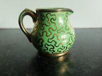1950s Sudlow's burslem green/gold puzzle milk creamer jug